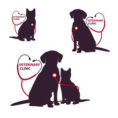 Veterinary clinic logo template with cat and dog. Vector Illustration