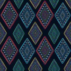 Ethnic tribal ornament pattern rhomb dark