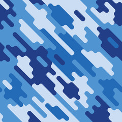 Blue Camouflage modern colorful seamless pattern Dazzle paint pattern. Vector geometrical texture Modern cute background.
