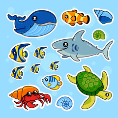 Fashion patch badges with whale, turtle, fish, seashells, crab, sea and other. Very large set of girlish and boyish stickers, patches in cartoon isolated.Trendy print for backpacks, things,clothes