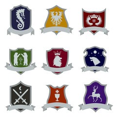 coat of arms flat icon set