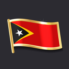 flag of East Timor in the form of badge, flat image