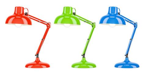 Set of colored desk lamps, 3D rendering