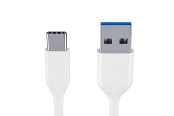 White USB-C charging data cable, type C male to type A male. 3D rendering