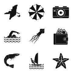 Beach photo icons set, simple style