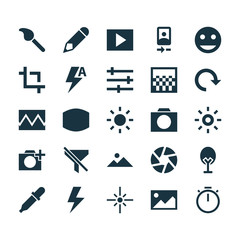 Image Icons Set. Collection Of No Filter, Center Focus, Chessboard And Other Elements. Also Includes Symbols Such As Play, Chronometer, Pencil.