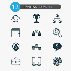 Management Icons Set. Collection Of Tournament, Partnership, Deal And Other Elements. Also Includes Symbols Such As Cash, Structure, Publicity.