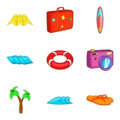 Assemble a suitcase icons set, cartoon style