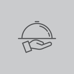 Tray on the hand icon