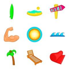 Sunbathe on the beach icons set, cartoon style