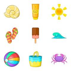 Hot weather icons set, cartoon style