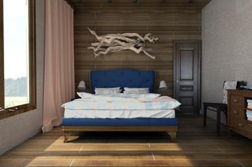 Cozy bedroom with wooden elements