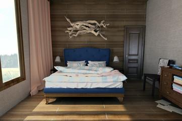 Cozy bedroom, vintage style