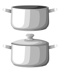 Boiling water in pan. iron cooking pot on stove with water and steam. Flat design graphics elements. Vector illustration Web site page and mobile app design
