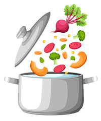 Boiling water in pan. iron cooking pot on stove with water and steam. Flat design graphics elements. Vector illustration Web site page and mobile app design soup vegetables