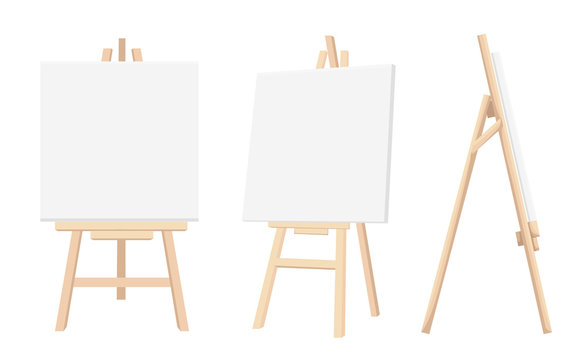 Vector Set of Brown Sienna Wooden Easels with Mock Up Empty Blank Canvases Isolated on Background Paint Desk and White Paper Isolated On Background. Vector illustration Web site page and mobile app