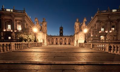 Cordonata Capitolina staircase on the Capitoline Hill, Rome, Italy, at night