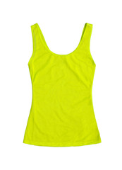 neon yellow sleeveless sports top isolated on white background