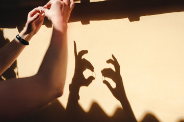 The bridegroom is holding wedding rings against the wall. Shadows from hands with rings resemble rabbits. Comic picture.