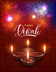 Happy Diwali background with beautiful arch and traditional oil lamps. Vector illustration.