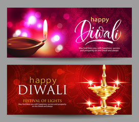 Banners with greeting for Hindu festival of lights Diwali. Vector set.
