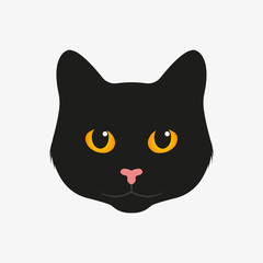 Black cat. Vector illustration. Isolated.