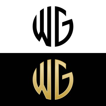 wg initial logo circle shape vector black and gold