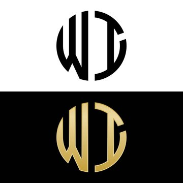 wi initial logo circle shape vector black and gold