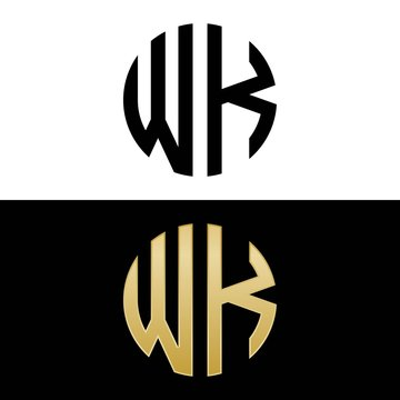 wk initial logo circle shape vector black and gold