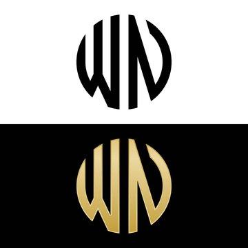 wn initial logo circle shape vector black and gold