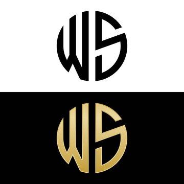ws initial logo circle shape vector black and gold