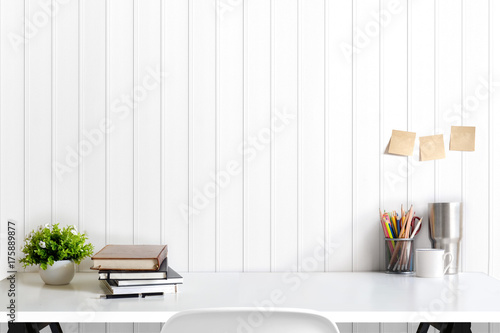 Loft Workspace Concept. Mock Up White Table And Books, Minimal Stuff On  Desk.