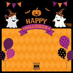 Happy Halloween template design with ghost costume to witch on black and orange background color