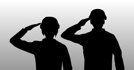 silhouette black salute men and women soldier