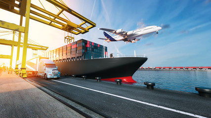 Wall Mural - Plane trucks are flying towards the destination with the brightest. 3d rendering.