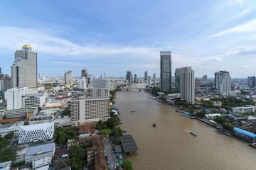 Aerial View over the river of Bangkok, Thailand