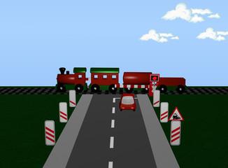 Bahnübergang mit Zug, Andreaskreuz und Verkehrsschild und Baken