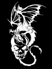 スカルとドラゴンのイラスト,