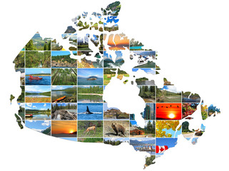 Poster Canada Canada Map create of Canadian Landscapes photo on a white background. National Parks and Landscapes. Travel and Tourism Concept