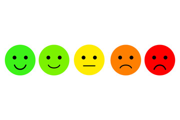 Set of emoji. Emoticons vector icon. Rating for web or app
