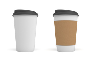 3d rendering of two white paper coffee cups with black lids, one clear white and white with a brown stripe.