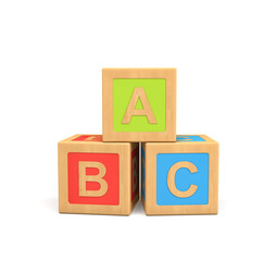 3d rendering of three wooden toy cubes with ABC lettering isolated on white background.