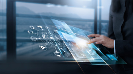 Hand touching virtual interface customer, technology innovation, business virtual concept