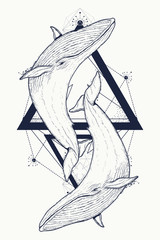 Two whales tattoo geometric style. Mystical symbol of adventure, dreams. Creative geometric Two whales tattoo art t-shirt print design poster textile. Outdoors symbol whale marine tattoo