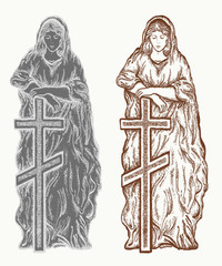 Virgin Mary vector. Statue of Virgin Mary with a cross. Statues of Holy Women hand drawn graphic. Gravestone, monument