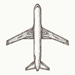 Airplane top view, air plane hand drawn vector