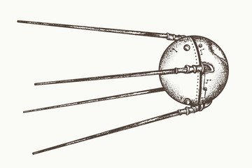 Sputnik vector. Earth satellite sputnik, hand drawn