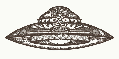 UFO ship vector. Ufo alien spaceship hand drawn graphic