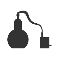 Alembic in flat design. The chemical process is a sample.