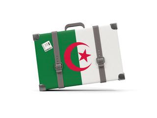 Luggage with flag of algeria. Suitcase isolated on white
